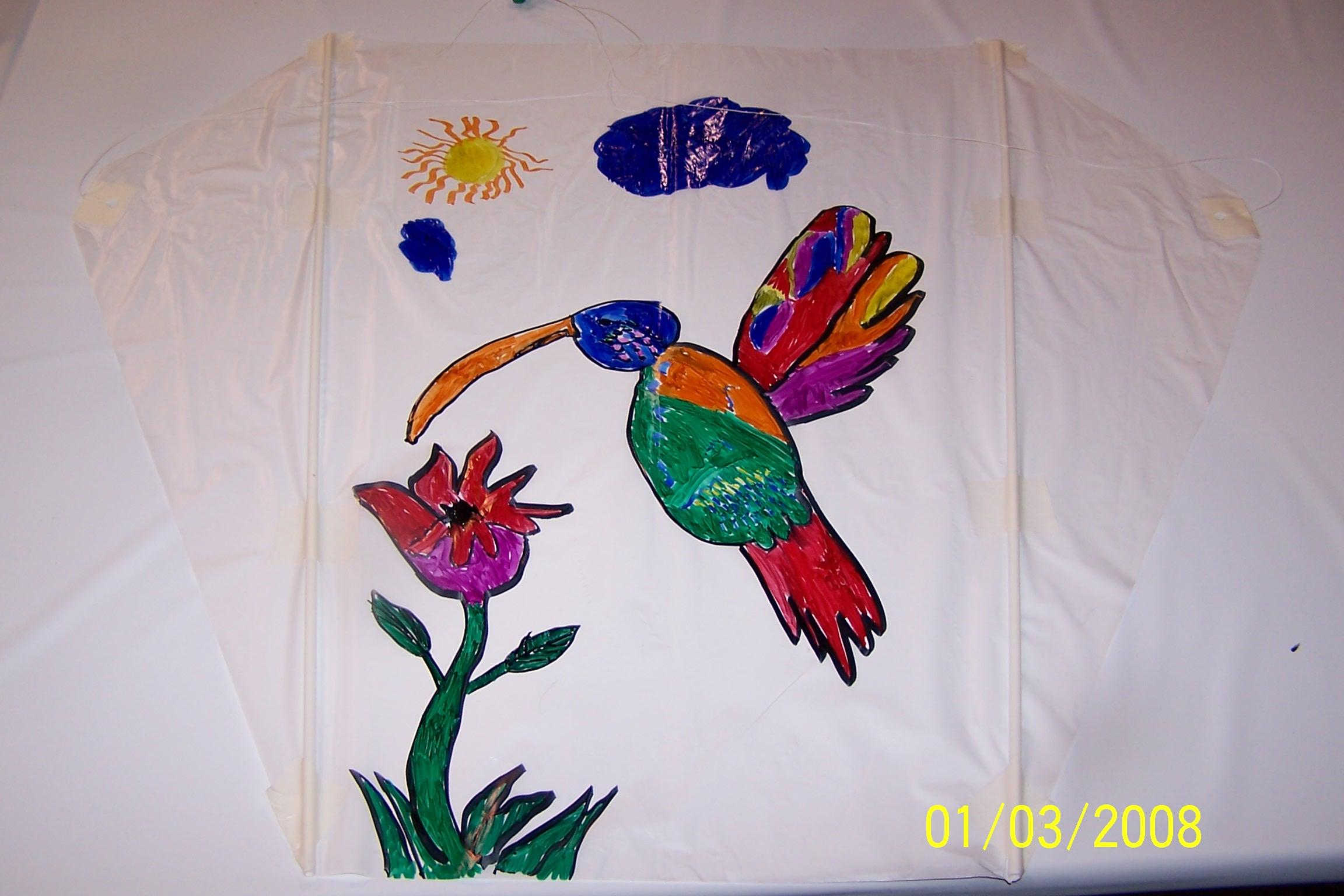 Un oiseau mouche sur ce cerf volant bravo l 39 enfant qui a fait ce dessin salon brico expo 2008 - Oiseau mouche dessin ...